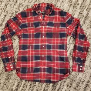 Navy Blue and Red Plaid Button Up